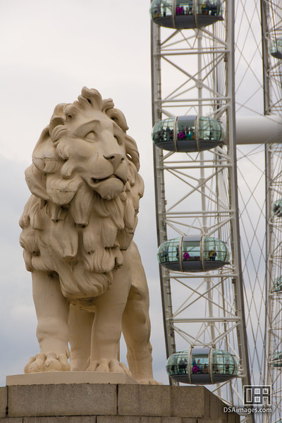 South Bank Lion and London Eye, outside the County Hall