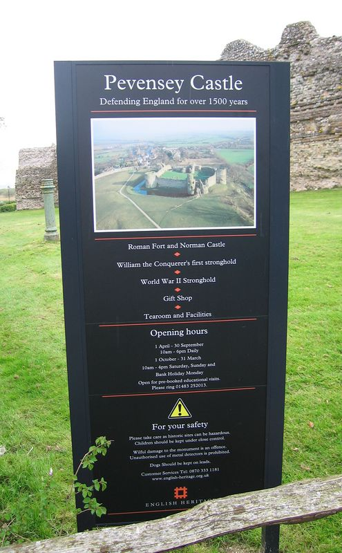 Sign for Pevensey Castle, 24 Apr 2005