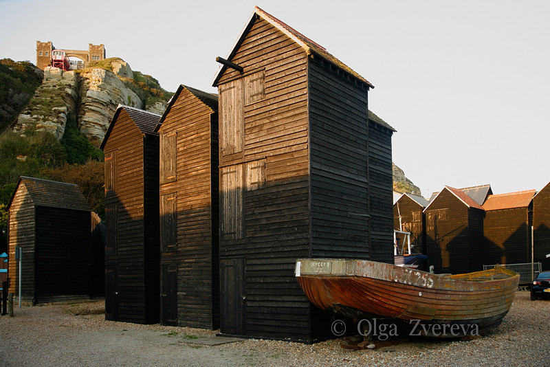 <p>Fishing Huts, Hastings, England, United Kingdom</p> <p>These large wooden huts are used for storage of fishing nets.</p>