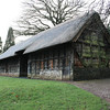 St. Fagan's is an open air museum. Over the last 50 years, 40 original buildings from different sites and historical periods have been re-erected on the grounds. This is Stryd Lydan Barn, built about 1550, from Penley, Flintshire, north-east Wales.