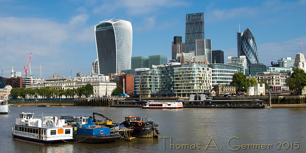 Thames, 20 Fenchurch (Walkie Talkie), and 30 St. Mary Axe (Gherkin)