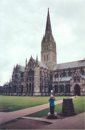 Lan looking at the spire The Close Salisbury England - Jul 1996