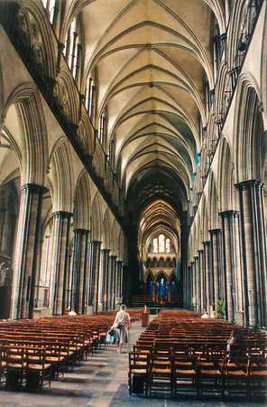 The nave Salisbury cathedral England - Jul 1996