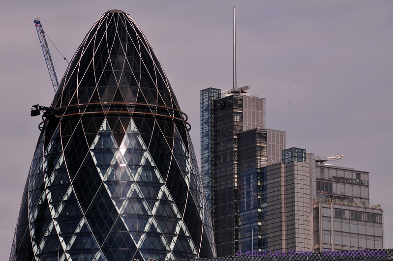 """View of St. Mary Axe (aka """"The Gherkin"""" from The Tower of London"""