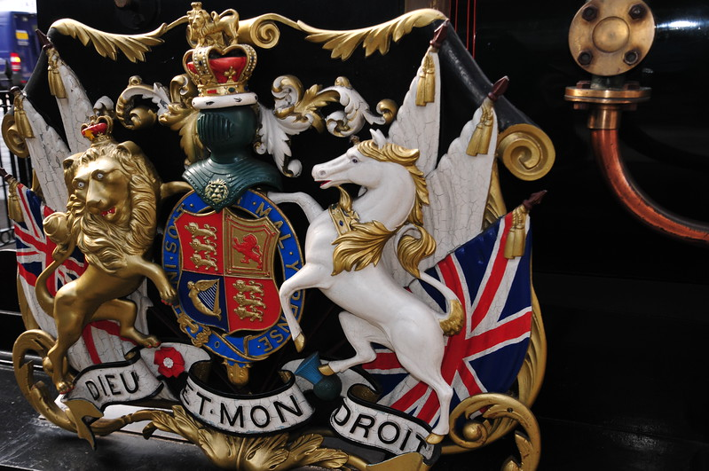 """Decorative detail on """"The Queen""""- replica of engine once used to pull the Royal train to Windsor - in Windsor & Eton Central Railway Station"""