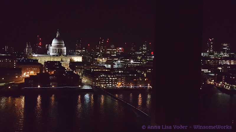 Night view of The Thames, St. Paul's & London from balcony of the Tate Modern  - South Bank
