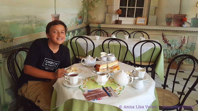 Xavier at our afternoon tea in The Orangery
