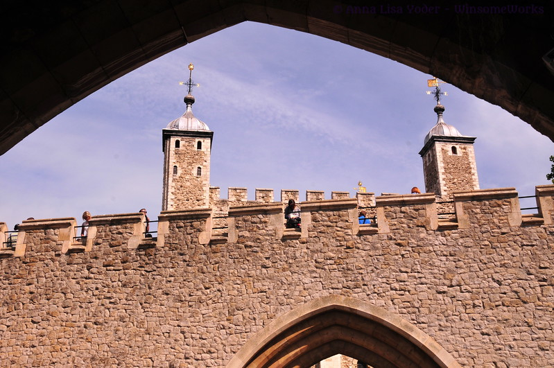 The White Tower rising above the Tower of London walls