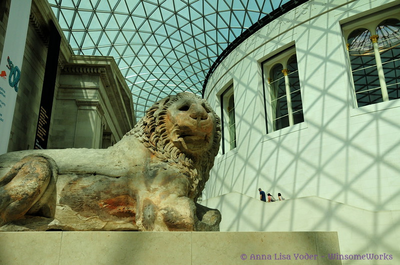 Lion sculpture in  Great Court in The British Museum