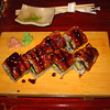 Unagi sushi with avocado.