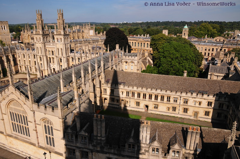 View of Oxford U. buildings from a high balcony on St. Mary's.