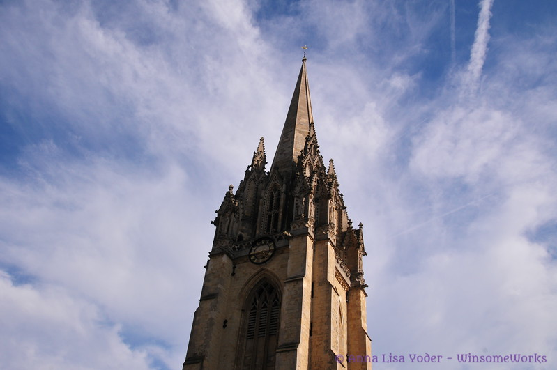 Spire on the University Church of St. Mary the Virgin  - Oxford , London  (we took an elevator to the top for terrific bird's-eye-views of Oxford,  & close views of sculptures