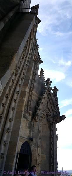 Sculpted work on the University Church of St. Mary the VIrgin (SMV), seen from a high balcony on the church