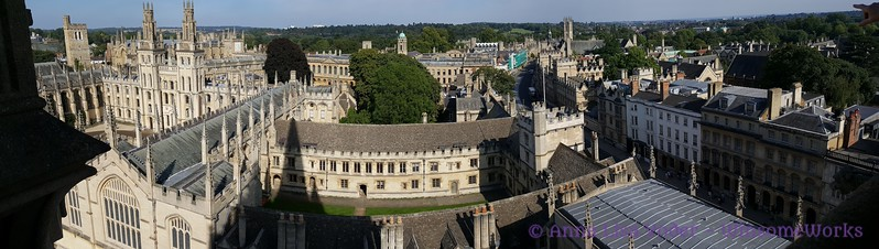 Panoramic view of Oxford U. buildings from a high balcony on St. Mary's.