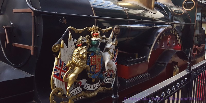 """""""The Queen""""-- replica of engine once used to pull the Royal train to Windsor - in Windsor & Eton Central Railway Station"""