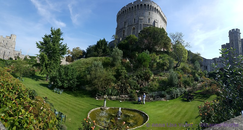 Windsor Castle pano, with moat and castle keep