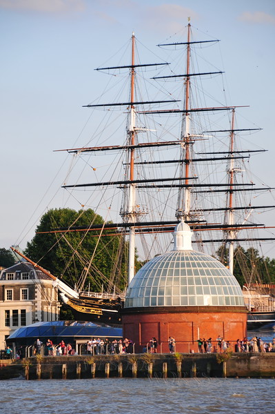 Entrance to Greenwich Foot Tunnel with Cutty Sark (ship) behind