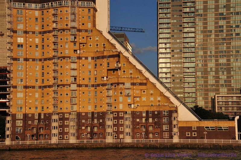 Apartment building at dusk, from Thames Ferry