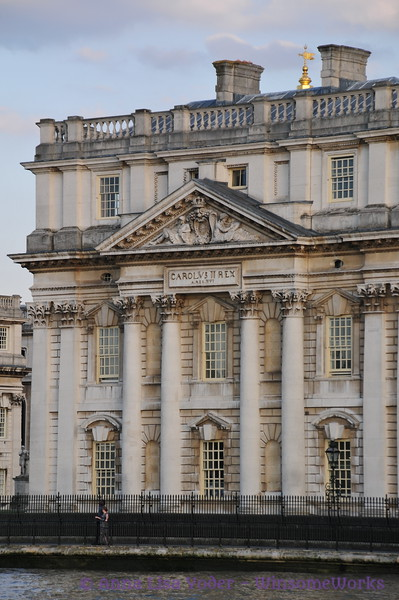 Detail of  University of Greenwich, from Thames River Ferry - London