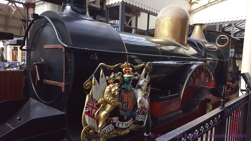 """The Queen""-- replica of engine once used to pull the Royal train to Windsor - in Windsor & Eton Central Railway Station"