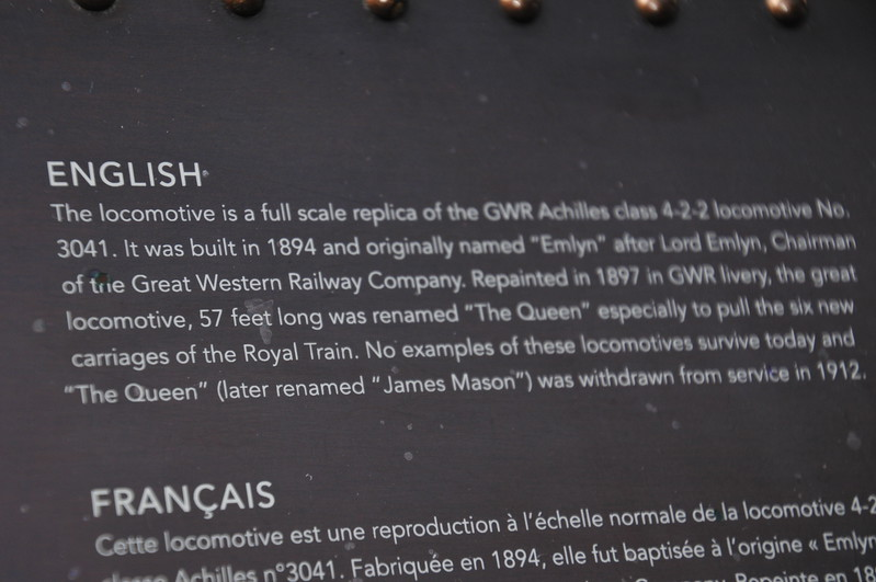 """Description of """"The Queen""""-- replica of engine once used to pull the Royal train to Windsor - in Windsor & Eton Central Railway Station"""