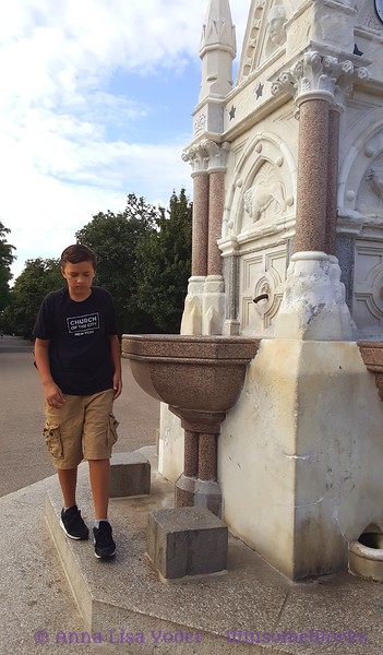 Xavier at antique (1869) fountain in Regent's Park
