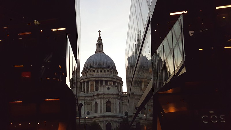 St. Paul's Church from elevator in One Change Place