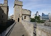 Juxtaposition -- Tower of London with modern London in view