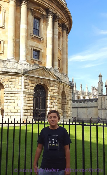 Xavier in front of Radcliffe's Camera - Oxford U.