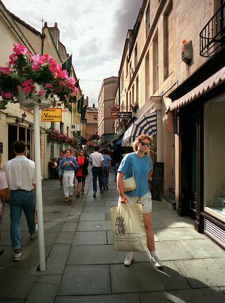 Karen shopping in Bath, Somerset, England.