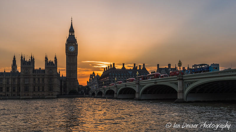 Sunset over Westminster Bridge and Big Ben