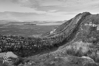 Hadrian's Wall and Distant Reservoir in black and white