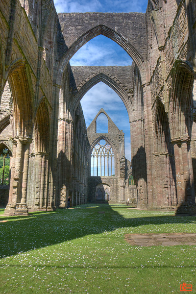This is a high-dynamic range (HDR) photo of Tintern Abbey. I had to wait about 15 minutes in this spot until there was no one walking through the shot.<br /> IMG_4087