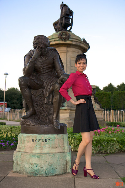 This statue of Hamlet was near our hotel in Stratford-Upon-Avon. After our evening walk, we stopped for some photos with the prince.<br /> IMG_4043