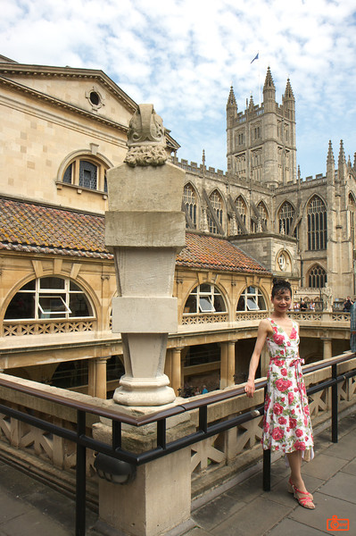 Roman Baths in Bath. The city of Bath is named after the baths dating to the Roman period. The largest bath is below us. In the background is Bath Abbey with its unusual square topped spire.<br /> IMG_4138