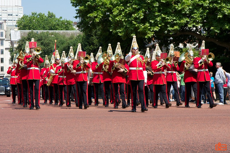 Changing of the Guards. The band has just left St. James' Palace and is proceeding towards Buckingham Palace.<br /> IMG_3882