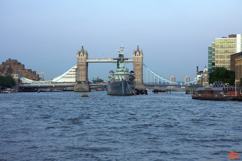 The Tower Bridge and HMS Belfast. HMS Belfast is permanently docked as a museum ship. It dates back to World War II.<br /> IMG_3859