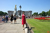 Rosa outside of Buckingham Palace. We were told that the Queen was not in, as the Royal Standard was not flying. Instead, the Union Jack was on the flag pole. Prince Charles was home (which is to the right of this picture), because his Standard was flying.<br /> IMG_3912