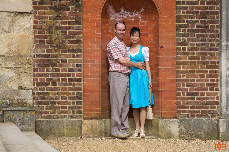 Richard and Rosa in the Gardens of Hampton Court Palace. This was a tricky shot. The camera was balanced on the camera bag, and set for a 10 second count-down.<br /> IMG_3974