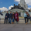 Tourists visiting Buckingham Palace like to take pictures at the Queen Victoria Memorial across from the palace..