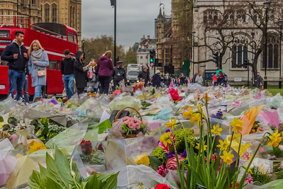 Lovely sentiments of support from visitors from all over the world remembering the horrific attack on pedestrians at Westminster Bridge on March 22, 2017.  Attacker Khalid Masood, 52, killed four pedestrians and injured about 50 others as he mowed down members of the public with a car on Westminster Bridge at about 2:40pm on Wednesday [the 22nd].   It was moving to see people browsing through the flower bed reading whatever was left of written well-wishes, consolations, and remembrances.