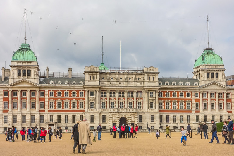 "Facade of the Old Admiralty Building facing the <a href=""https://www.globalchampionstour.com/news/2014/1118/london-horse-guards-parade-ground-a-brief-history/"">Horse Guards Parade Ground</a>."