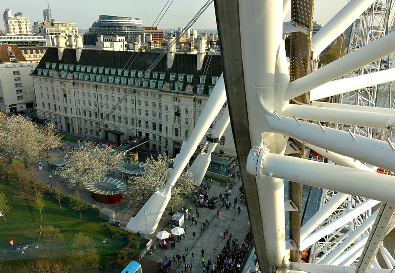 A view from the London Eye showing some of the Jubilee Gardens.