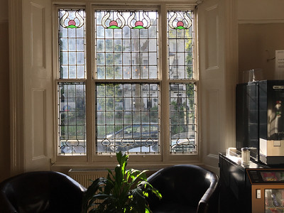 A view toward Norfolk Square from the lobby of the St. David's Hotels.