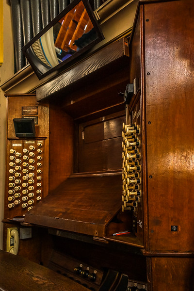 Pipe organ control board at Westminster Chapel. Apparently, an organist comes in once a week to play, but she is very private and won't play if others are in the room.