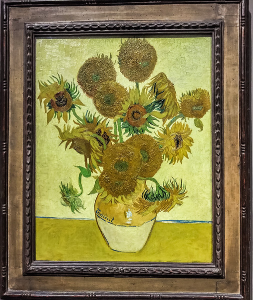 "Van Gogh's ""Vase with fifteen sunflowers"" is prominently featured at the beginning of the impressionist exhibition in the <a href=""https://en.wikipedia.org/wiki/National_Gallery"">National Gallery</a>. It is a humbling experience to stand just inches away from these masterpieces, and there is no substitute for the in-person experience. When you examine Van Gogh's paintings you see the paints almost jumping off the canvas - I mean its thickly laid out. It almost looks like the artist threw globs of paint at the canvas and somehow it was so ordered and arranged that it became a recognizable image."