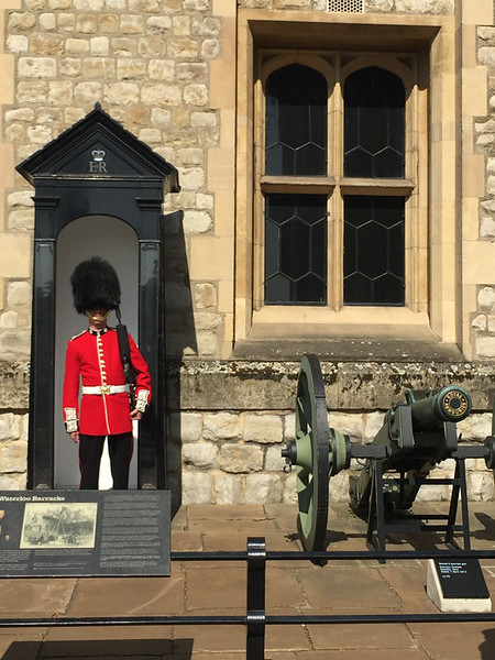 "A Coldstream Guards sentry outside the Jewel House (formerly Waterloo Barracks). (<a href=""https://en.wikipedia.org/wiki/Jewel_House"">Wikipedia</a>)"