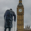 It seems fitting to find Churchill amid gathering storm clouds, with Big Ben counting the precious minutes and hours.