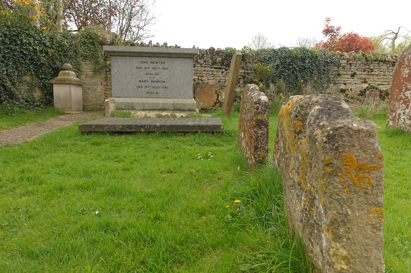 John Newton died in London and was originally buried next to his wife in the Saint Mary Woolnoth Church cemetery. In 1893 their remains were moved to a corner of the Saint Pater and Paul Church cemetery due to the extension of the London Underground rapid transit system.