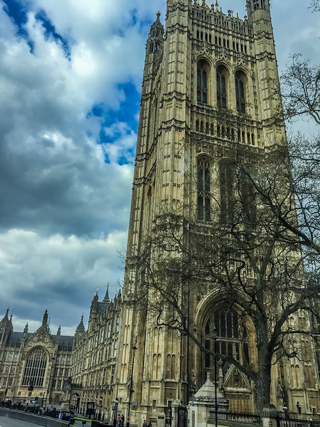 A view of Westminster Palace (seat of Parliament).